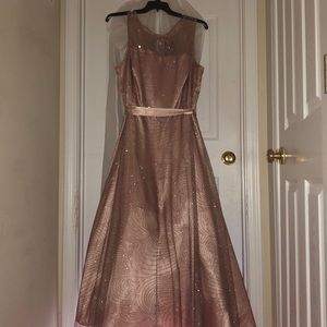 Plus size sparkle rose gold prom dress.